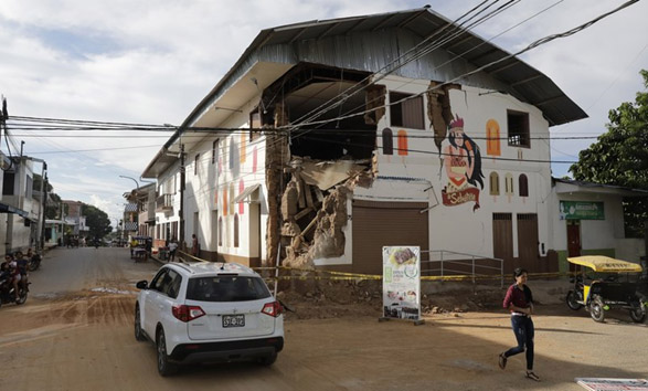Damage of a construction in Perú as a result of the 2019 Lagunas earthquake