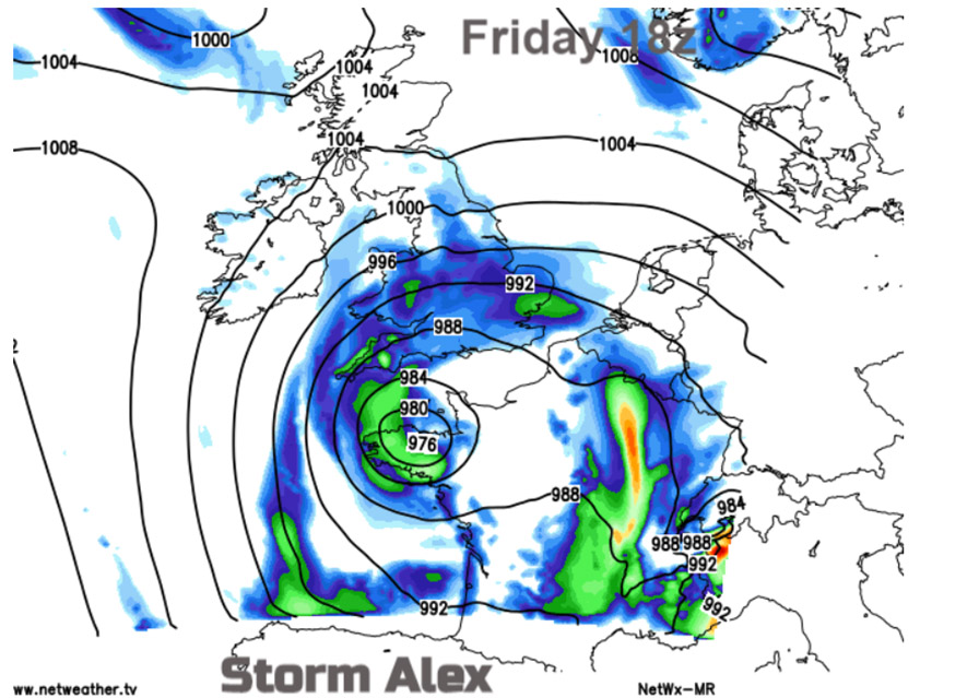 """Pressure distribution of"""" Storm Alex"""". Obtained from www.netweather.tv"""
