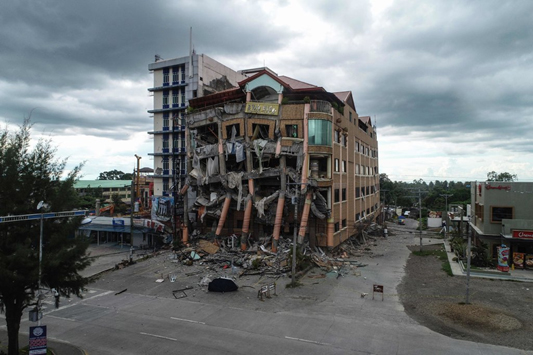 Hotel destroyed after the October 29th earthquake in the southern Philippines. Obtained from The New York Times.