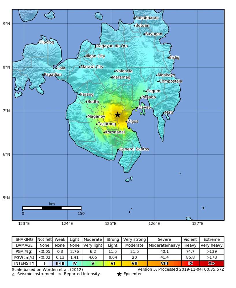 Macro-seismic intensity map.